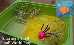 Sharing a Shell small world play, easy to set up, lots of fun The Ultimate Party Week 60 Primary Activities, Indoor Activities, Fun Activities For Kids, Creative Activities, Book Activities, Creative Ideas, Sharing A Shell, Kids Water Table, Diy For Kids