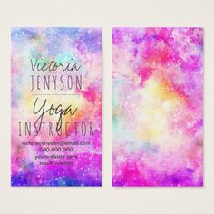 Modern bright pastel nebula watercolor yoga business card