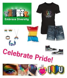 """Tomorrow's Gay Pride Parade!"" by sereneowl ❤ liked on Polyvore featuring Anya Hindmarch, Vans, Canvas by Lands' End, Silver Luxuries, Vera Wang, gaypride, celebrate, diversity, texaspride and loveisall"