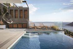 House in Anavyssos by km architecture studio Studio Furniture, Furniture Design, Open Plan Living, Entrance, Architecture Design, Swimming Pools, Pergola, Relax, Exterior
