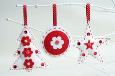 Felt Christmas Decorations Sewing Kit 3 by kittykaymakeandsew, £14.00