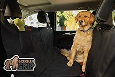 #1 Best Seller! Buy Now: The Original GORILLA GRIP (TM) Non-Slip Hammock Convertible Car Seat Protector for Pets  Waterproof Pocket Velcro Seatbelt Openings Zipper Underside Grip, Anchors, Straps To Secure Cover (Black)