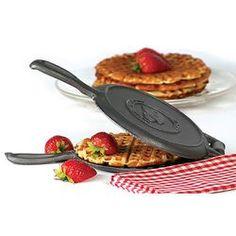 Kitchen|Cookware|Cast Iron Cookware|Round Cast Iron Waffle Iron - Lehmans.com
