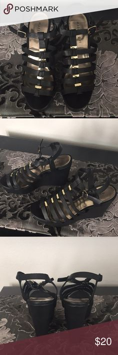Madden Girl black wedges size 9.5 Madden Girl black wedges size 9.5. Gold accents. Excellent condition. Madden Girl Shoes Wedges