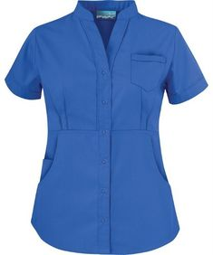 Butter-Soft Scrubs by UA™ Women's Solid Mandarin Collar Snap Front Scrub Top Scrubs Outfit, Scrubs Uniform, Medical Uniforms, Hospital Uniforms, Nursing Uniforms, Uniform Advantage, Sister Shirts, Uniform Design, Nursing Dress