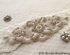Appliques appliques perles de strass appliques par DIYBrideBoutique