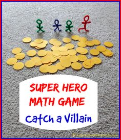 Super Hero Math Game: Catch a Villain - Practice number recognition, counting, addition, and get kids moving. Have fun #SuperHeroing!