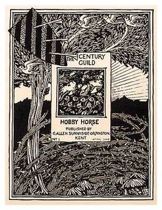 """Selwyn Image, title page to the Century Guild Hobby Horse, Packing it with detail, image designed a """"page within a page"""" that reflects the medieval preoccupation of the Arts and Crafts Movement. William Morris, Arts And Crafts Movement, Design Movements, Art And Craft Design, Hobby Horse, Bookbinding, Art Forms, Book Design, Art Nouveau"""