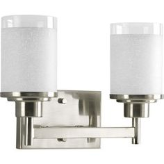 Buy the Progress Lighting Brushed Nickel Direct. Shop for the Progress Lighting Brushed Nickel Alexa Two-Light Bathroom Fixture with Linen and Clear Glass Shades and save. Vanity Light Fixtures, Bathroom Fixtures, Bathroom Cabinets, Modern Bathroom Lighting, Light Bathroom, Bathroom Ideas, Master Bathroom, Bath Ideas, Hall Bathroom
