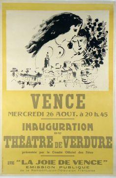 Original Künstler Plakat Chagall Original Artist Poster Chagall Affiche original Chagall  title La Joie de Vence  technology Color lithograph