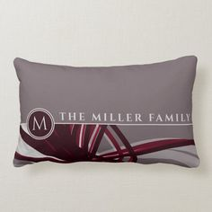 Gray & Burgundy Abstract | Monogram | Family Name Lumbar Pillow - tap/click to get yours right now! #LumbarPillow #family #name #gray #burgundy #grey Shades Of Burgundy, Burgundy Wine, Personalized Pillows, Custom Pillows, Lumbar Pillow, Bed Pillows, Modern Typography, New Homeowner, Designer Pillow