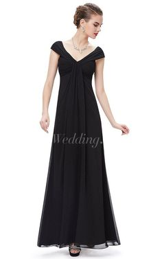 Cap-sleeved V-neck Empire Chiffon Gown With Pleats
