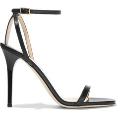 Jimmy Choo Minny leather sandals ($615) ❤ liked on Polyvore featuring shoes, sandals, heels, sapatos, jimmy choo, black heeled sandals, black strap sandals, high heel sandals, high heeled footwear and black sandals