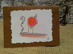 Whimsical Handmade Watercolor Bird Notecards by FoundSerendipity