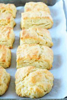 These flaky, homemade buttermilk biscuits are seriously easy to make and come together in less than 15 minutes! They're soft and fluffy, with layer upon layer of buttery, flaky goodness! Make them for breakfast or use a side dish recipe! Southern Homemade Biscuits, Homemade Buttermilk Biscuits, Healthy Bread Recipes, Snack Recipes, Yummy Recipes, Scone Recipes, Breakfast Items, Breakfast Recipes