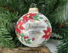 2016 Christmas Ornament, Red Poinsettias, Holly and Berries, Gold, Christmas Colors, Yearly Ornament Christmas Keepsake, Free Inscription