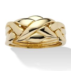 PalmBeach 14k Yellow Gold-Plated Interwoven Puzzle Ring Tailored
