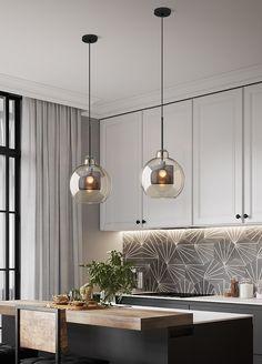 Living Room Kitchen, Living Room Bedroom, Kitchen Interior, Kitchen Decor, Industrial Hanging Lights, Industrial Lamps, Küchen Design, Interior Design, Ceiling Design Living Room