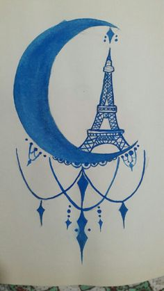 #moon #draw #dibujo #drawing #paris #eiffel #loveit ♡