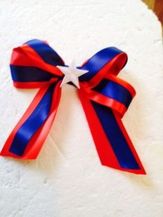 "New Handmade Patriotic Satin Ribbon 4"" Hair Bows Clips Accessories Hairbows"