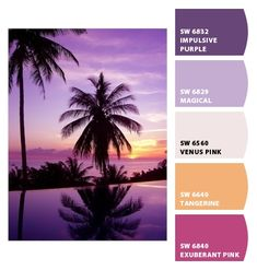 purples fuchsias violet pale pink pale purple haute fashion peach orange miami heat sexy sundown sunset palm trees tropical feminine bright girly scheme  warm hues party bachelorette bridal shower teen birthday bedroom playroom vacation inspiration Paint colors from #ChipIt! by #SherwinWilliams