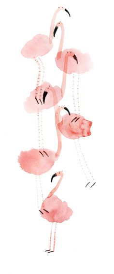 Watercolor art of Pink flamingos Art And Illustration, Illustration Inspiration, Pattern Illustration, Watercolor Illustration, Watercolor Art, Flamingo Illustration, Art Illustrations, Gold Art, Art Design