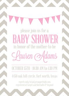 20 5x7 Chevron Baby Girl Shower Invites & Envelopes by PaperLeigh, $43.80
