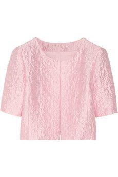 Oscar de la Renta Cropped cotton-blend brocade jacket   NET-A-PORTER