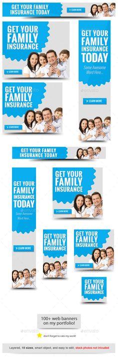 Insurance Web Banner Template #design Download: http://graphicriver.net/item/insurance-web-banner-template/11708344?ref=ksioks