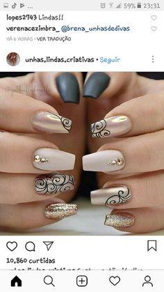 Matte black, gold, chrome and nude. Xo Matte black, gold, chrome and nude. Classy Nails, Fancy Nails, Trendy Nails, Beautiful Nail Art, Gorgeous Nails, Hot Nails, Hair And Nails, Nagellack Design, New Nail Designs