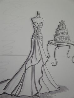 Custom Wedding Dress Sketch with cake by Laura Pruett of Laura Arts and Design