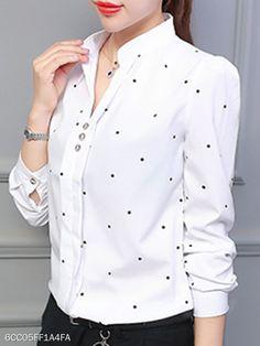 V Neck Dot Blouses - berrylook.com Cheap Blouses, Shirt Blouses, Shirts, Girls Fashion Clothes, Girl Fashion, Womens Fashion, Hijab Fashion, Fashion Outfits, Fasion