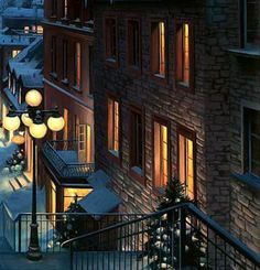 """Such a quaint street. Windows filled with golden lights. (detail from """"Old Quebec"""" by Eugene Lushpin)."""