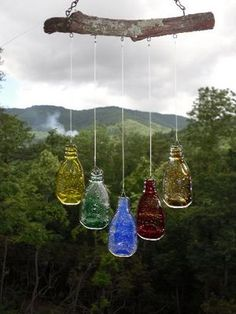 mutiple colors-flattened melted bottles glass windchimes