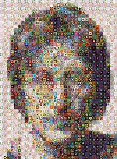 John Lennon in digital crochet granny squares