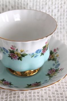 CHINA TEA CUP Royal Albert Teal White Gold by colourfulcarmelina
