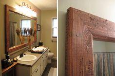 Bathroom mirror frames diy bathroom mirror frame projects home Wood Framed Bathroom Mirrors, Rustic Mirrors, Wood Bathroom, Diy Bathroom Decor, Bathroom Colors, Bathroom Ideas, Master Bathroom, Brown Bathroom, Bathroom Pictures