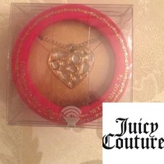 """🆕Limited Edition❤️JUICY COUTURE PERFUME❤️NECKLACE Limited Edition VIVA LA JUICY COUTURE PERFUME ❤️NECKLACE                                     heart shape pendant (1.5 x 1.5"""") hangs from a 34"""" gold-tone chain & is studded with rhinestones that sparkle and shine with every swing of your step.Slide open the heart to reveal the perfect solid perfume secretly tucked inside. Packaged in a bright pink case to evoke the special feel of a jewelry box.Last pic is stock pic❤️Never opened,Sealed💋💝…"""