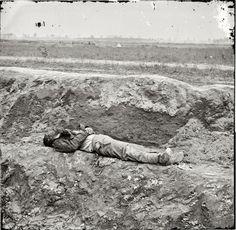 """April 1865. Petersburg, Virginia. """"Dead Confederate soldier"""