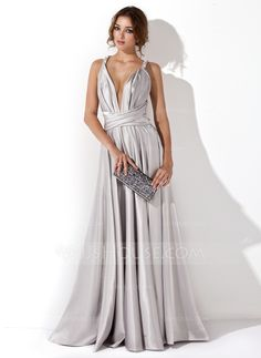 A-Line/Princess V-neck Floor-Length Charmeuse Evening Dress With Ruffle (017020657)
