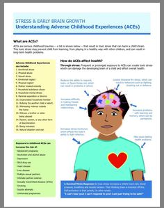 The infograph explains what an ACEs (Adverse Childhood Experiences) is and looks at some of the common effects of ACE. According to the infographic, an ACE is a trauma that is experienced by a child. Some actions that can be considered an Adverse Childhood Experience are sexual/emotional/physical abuse, neglect, racism, and homelessness. This trauma induces extreme stress that can affect the child's health.