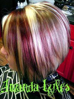 Highlights: Deep Red, Bright Blonde  Hair Done By: Amanda Lyles, Lebanon, Indiana www.vagaro.com/rinse