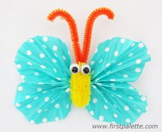 Cupcake Liner Butterfly with Fuzzy Body