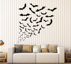 Vinyl Wall Decal Bats Halloween Horror Art Decor Stickers (ig4102)