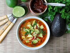 Chipotle Lime Soup with Shredded Chicken - Gluten Free