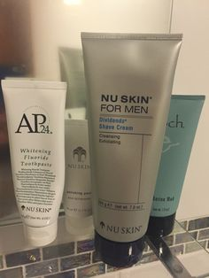 NU skin isn't just for the ladies! Whitening Fluoride Toothpaste, Nu Skin, Shaving, Cleanse, Shampoo, Personal Care, Cream, Self Care, Chowder