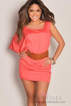 Cute Coral Orange Asymmetrical Belt Banded Waist Club Dress...............love the color