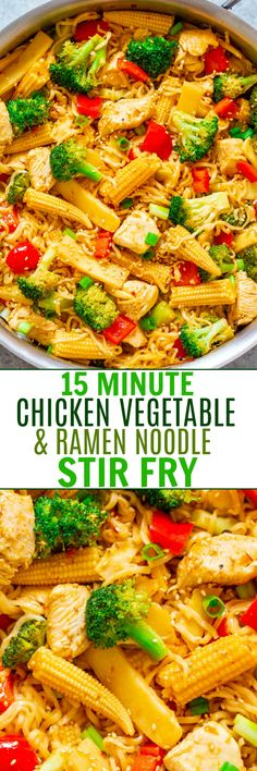 Chicken, Vegetable, and Ramen Noodle Stir Fry - Don& call for takeout when you can make this EASY Asian stir fry in minutes! HEALTHIER and faster than takeout and great for busy weeknights! Asian Recipes, Healthy Recipes, Asian Foods, Simple Recipes, Delicious Recipes, Chicken And Vegetables, One Pot Meals, Quick Meals, Pasta Dishes