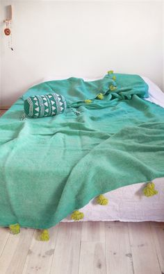 Moroccan POM POM Wool Blanket - Turquoise