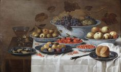 Still life representing various fruits on Chinese Wan-li plates, a roomer, a loaf of bread and a knife on a table by Floris Gerritsz. Van Schooten (Haarlem, 1585-1655) - Jan Muller Antiques at BRAFA 2015